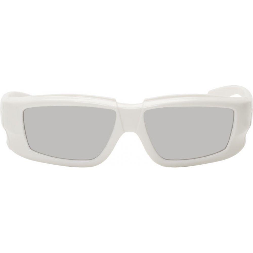 商舗 リック オウエンス Rick Owens 与え メンズ Larry Sunglasses White サングラス メガネ