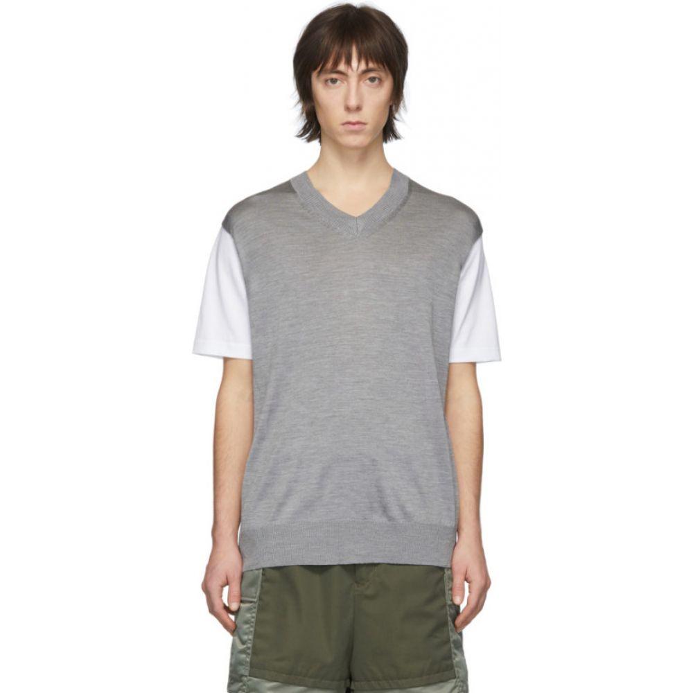 ジュンヤ ワタナベ Junya Watanabe メンズ Tシャツ トップス【White & Grey Thin Knit Jersey T-Shirt】Grey/White