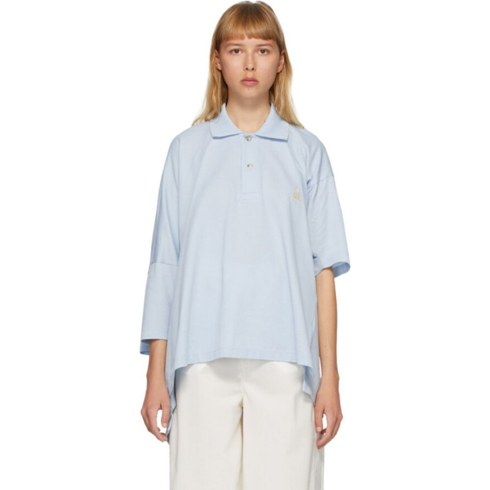 ランバン Lanvin レディース ポロシャツ トップス【Blue Oversize Asymmetric Polo】Blue