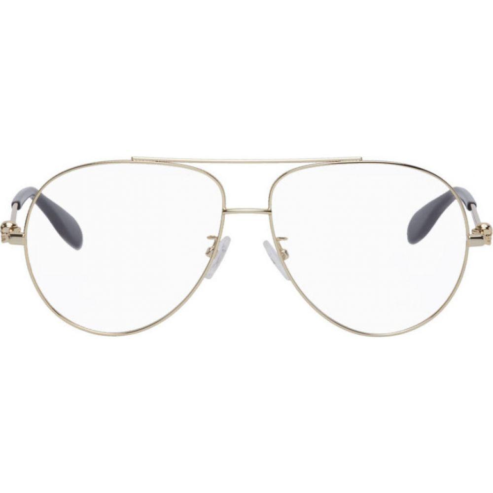 アレキサンダー マックイーン Alexander McQueen メンズ メガネ・サングラス アビエイター【Gold Aviator Glasses】Gold