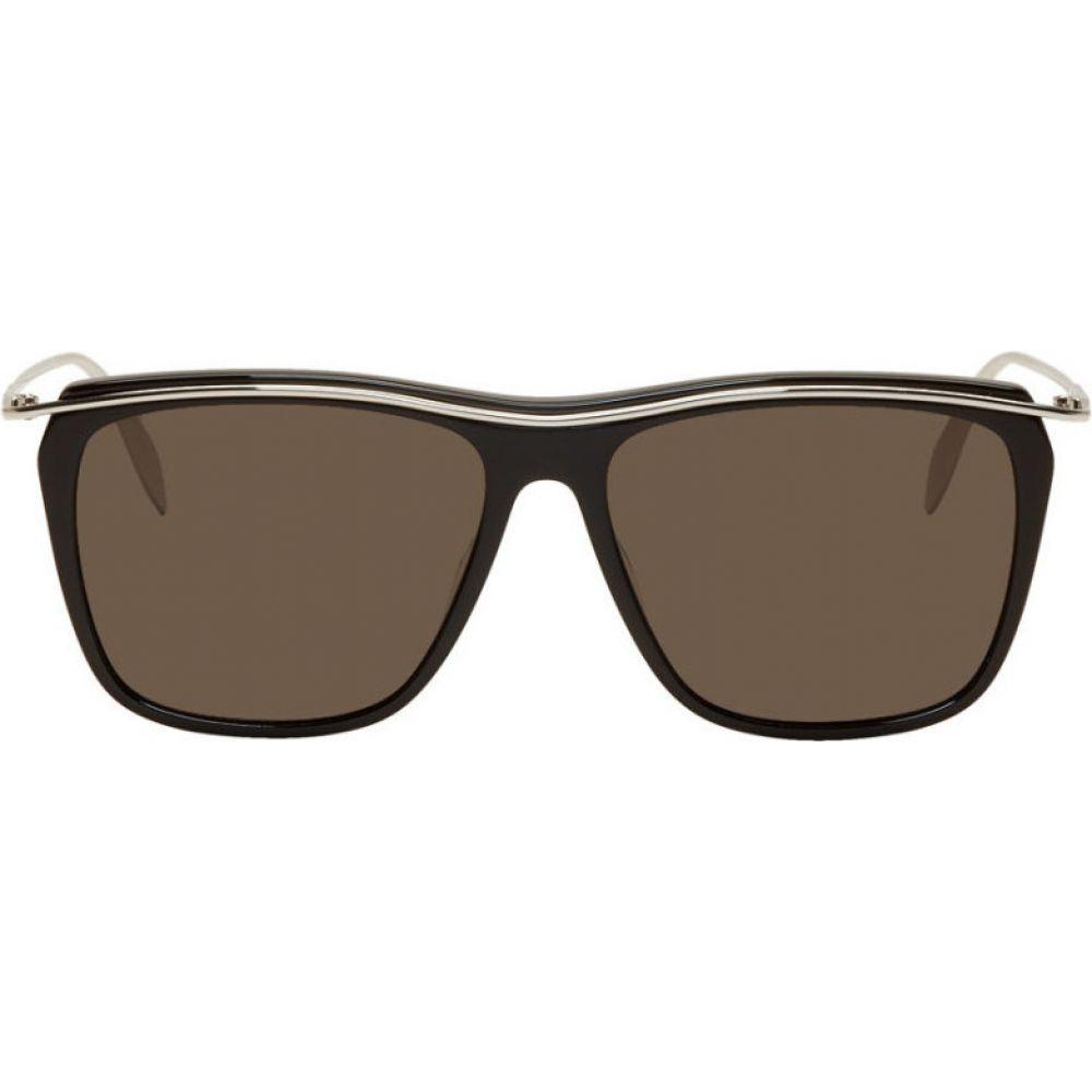 アレキサンダー マックイーン Alexander McQueen メンズ メガネ・サングラス スクエアフレーム【Black & Silver Square Sunglasses】Black