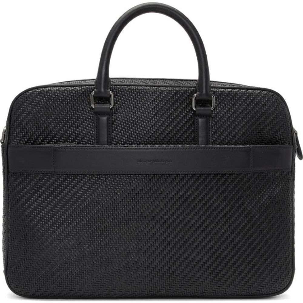 エルメネジルド ゼニア Ermenegildo Zegna メンズ ビジネスバッグ・ブリーフケース バッグ【Black Pelletessuta Briefcase】Black
