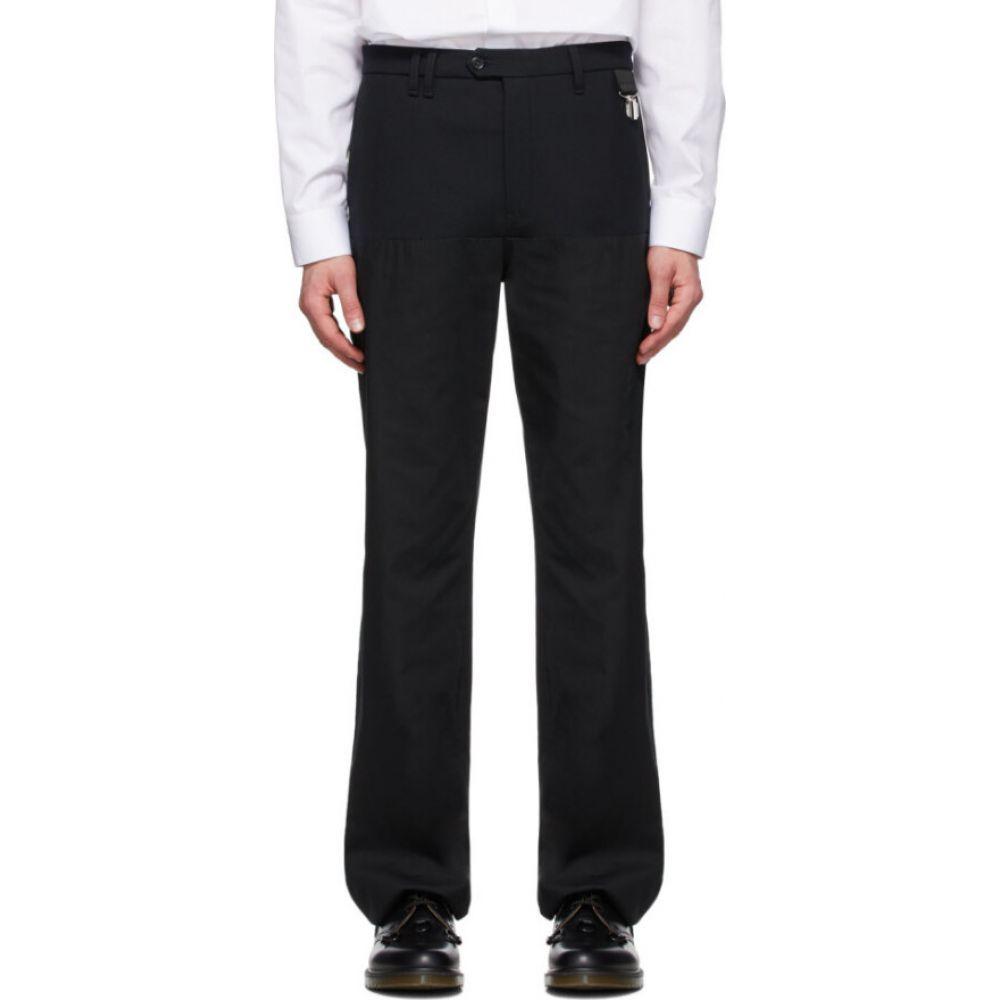 ラフ シモンズ Raf Simons メンズ ボトムス・パンツ 【Black Wool Horizontal Cut Straight-Leg Trousers】Black