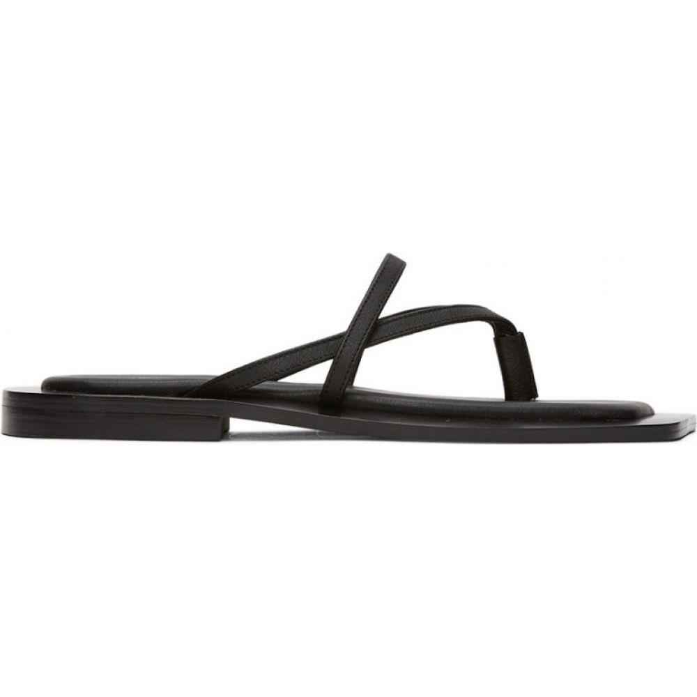 フラットアパートメント Flat Apartment レディース サンダル・ミュール スクエアトゥ シューズ・靴【Black Square Toe Strappy Sandals】Black