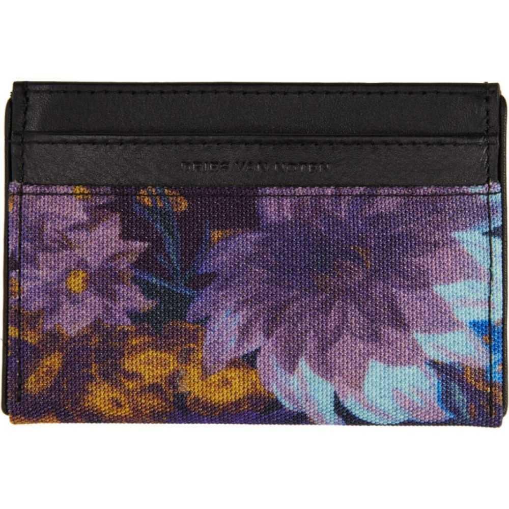 ドリス ヴァン ノッテン Dries Van Noten メンズ カードケース・名刺入れ カードホルダー【Black & Multicolor Flower Card Holder】Purple