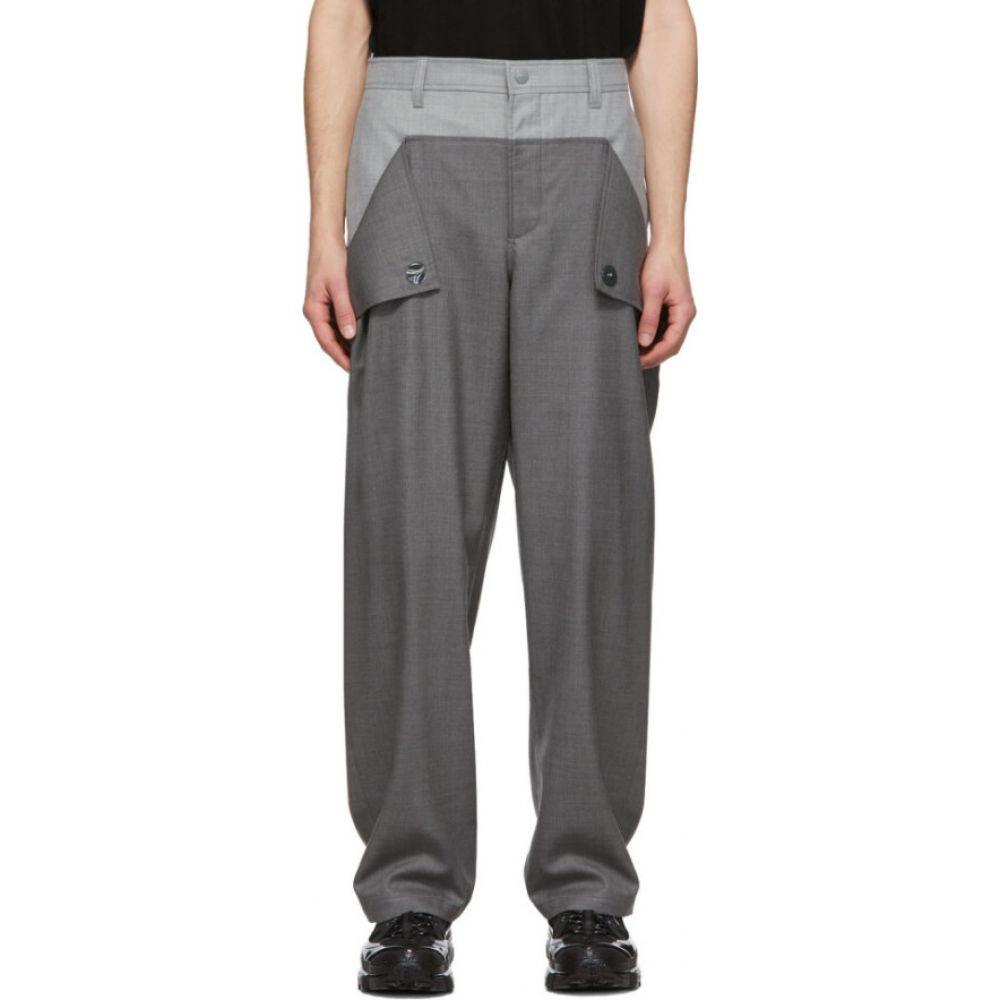 バーバリー Burberry メンズ スラックス ボトムス・パンツ【Grey Wool Press-Stud Detail Trousers】Charcoal grey