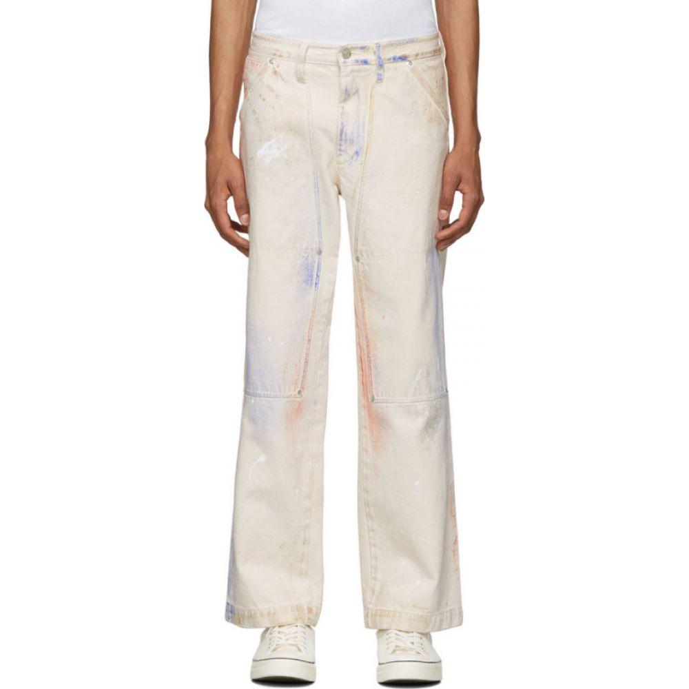 タナカ Tanaka メンズ ジーンズ・デニム ボトムス・パンツ【Off-White & Multicolor Work Jeans】Multi/White