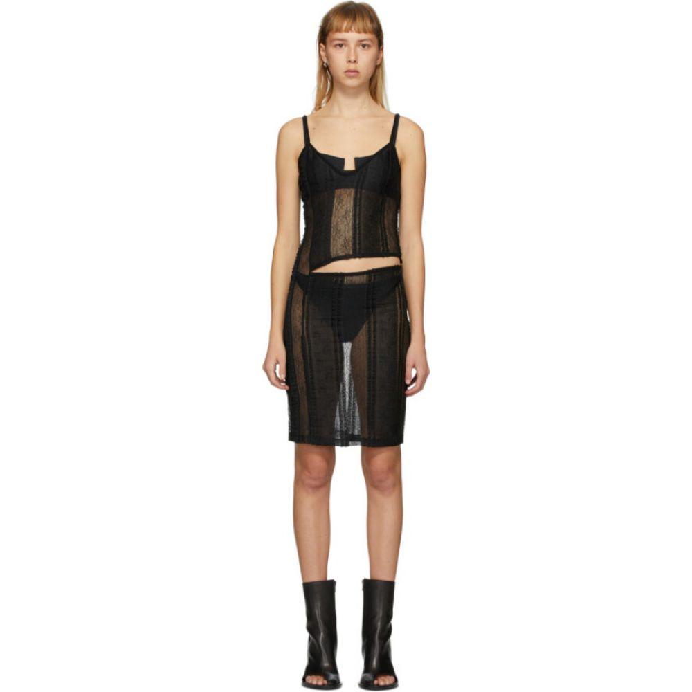 アンドゥムルメステール Ann Demeulemeester レディース ワンピース スリップドレス ワンピース・ドレス【Black Ignota Cut-Out Slip Dress】Black