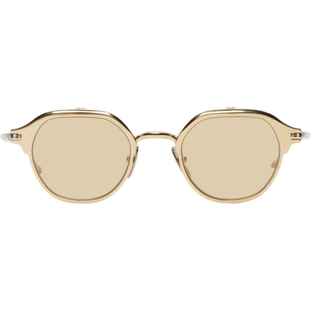 トム ブラウン Thom Browne メンズ メガネ・サングラス 【Gold & Silver TB-812 Flip-Up Sunglasses】White gold/Silver/Brown