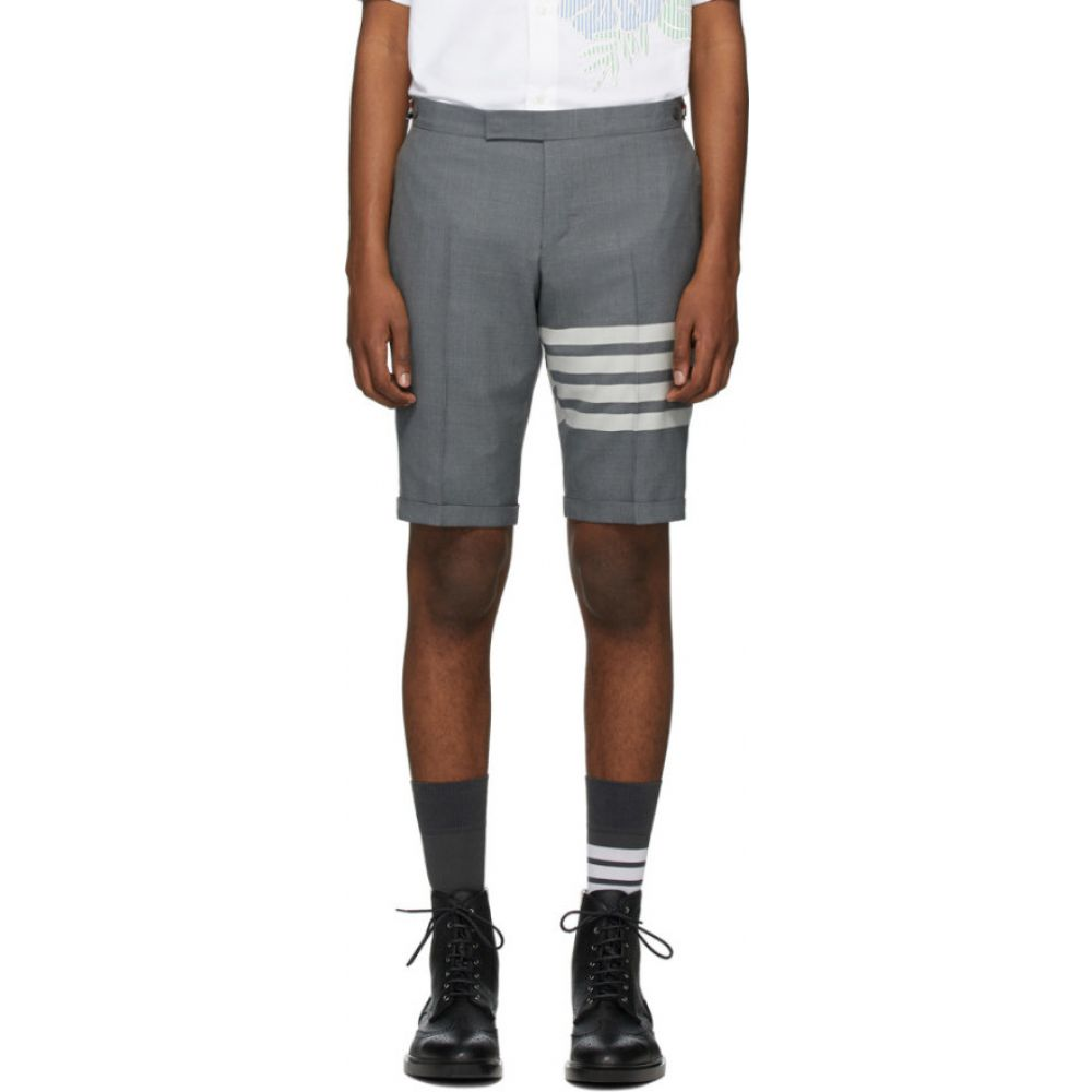 トム ブラウン Thom Browne メンズ ショートパンツ ボトムス・パンツ【Grey 4-Bar Wool Shorts】Medium grey