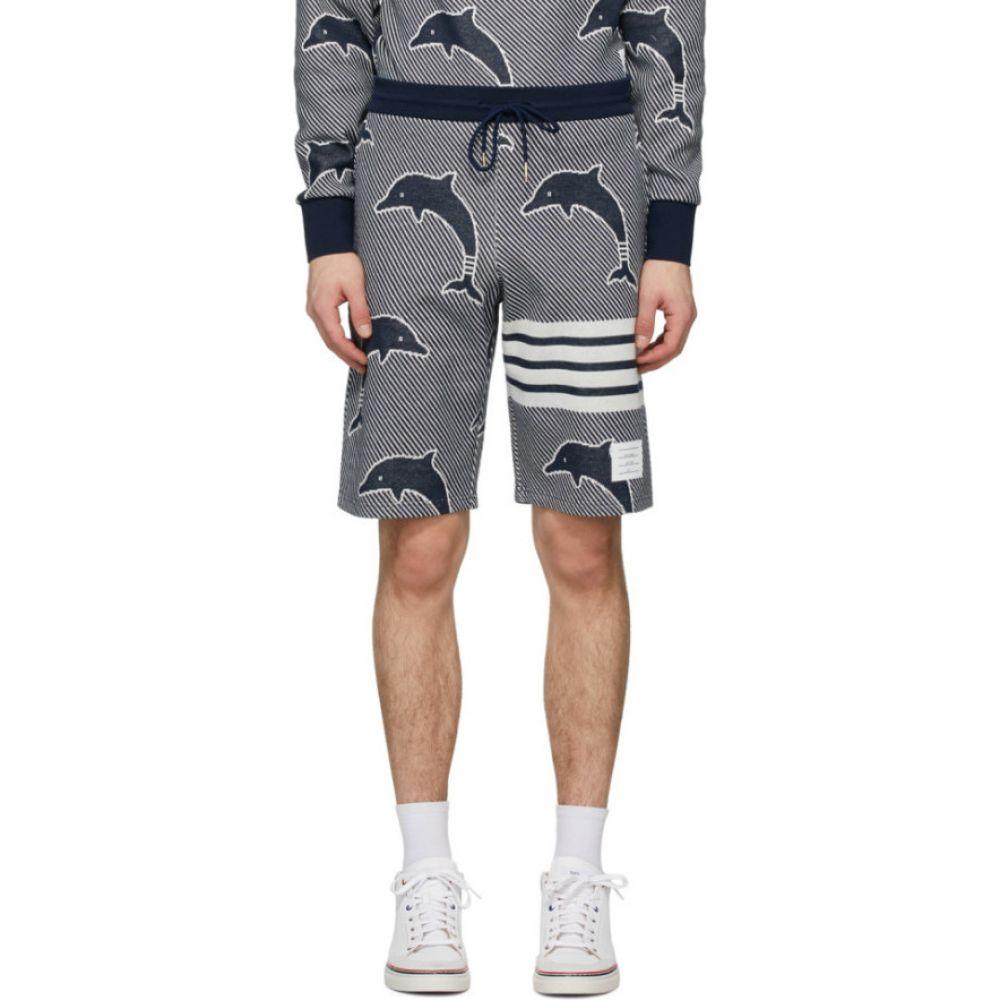 トム ブラウン Thom Browne メンズ ショートパンツ ボトムス・パンツ【Navy Jacquard Dolphin 4-Bar Shorts】Navy