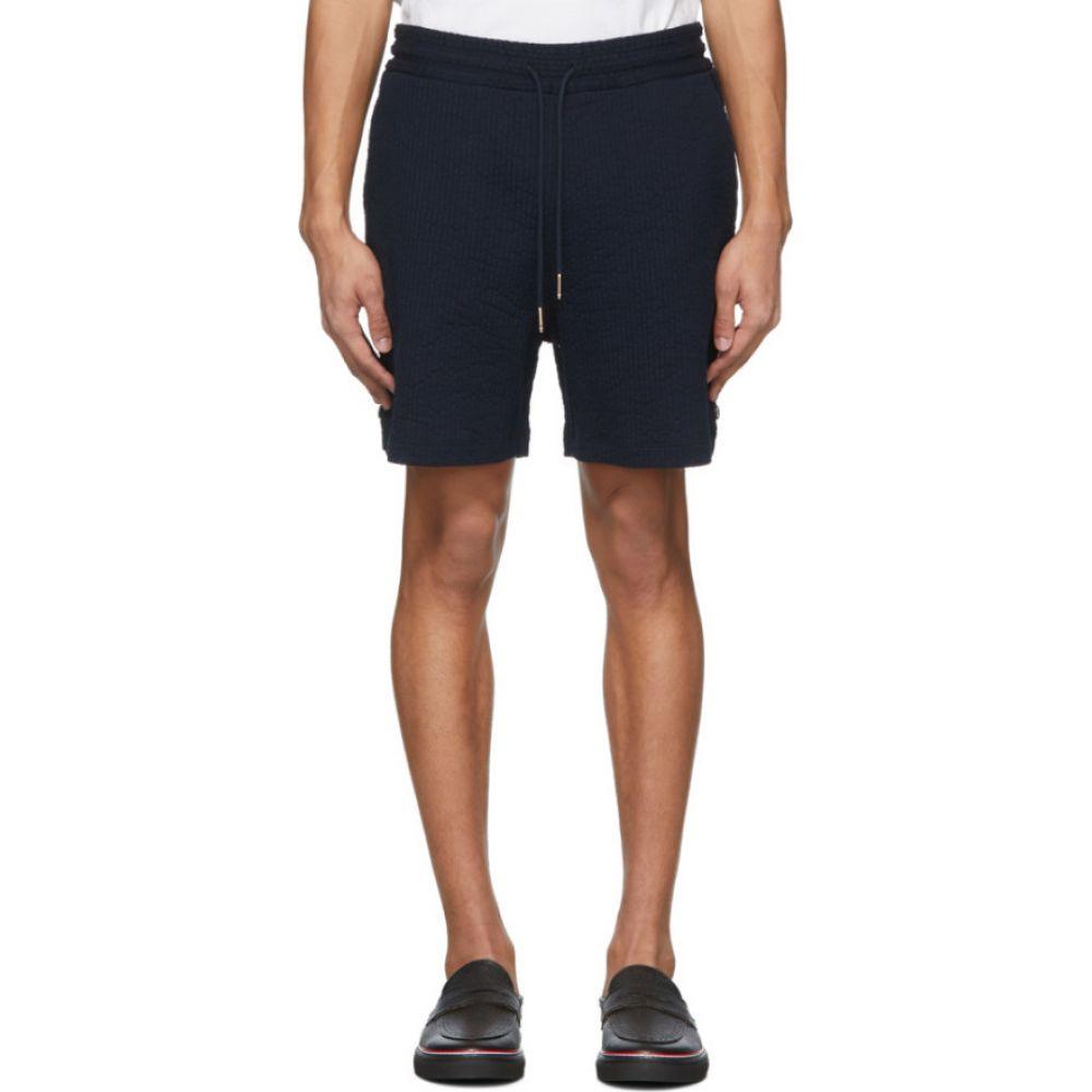 トム ブラウン Thom Browne メンズ ショートパンツ ボトムス・パンツ【Navy Cotton Seersucker Shorts】Navy
