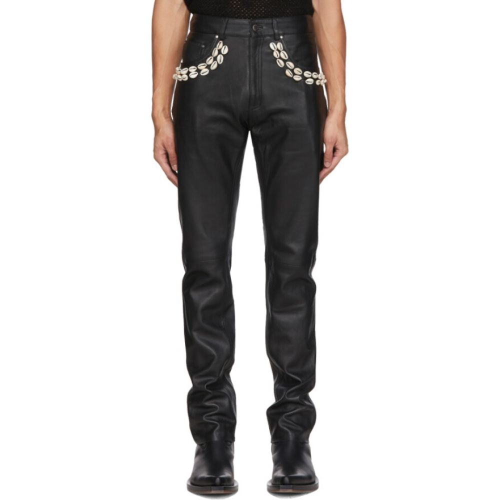 イーストウッド ダンソー Eastwood Danso メンズ ボトムス・パンツ 【SSENSE Exclusive Black Leather Cowrie Shell Trousers】Black