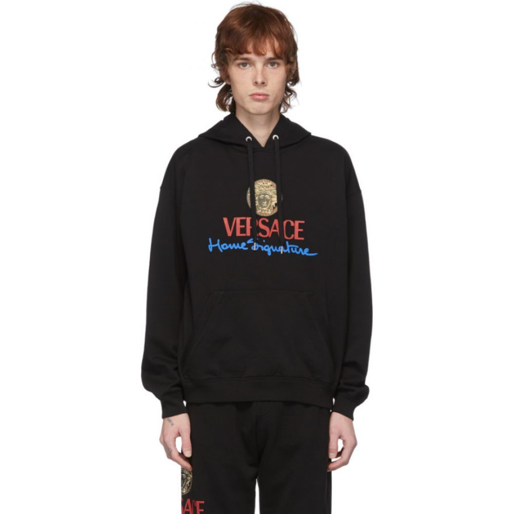 ヴェルサーチ Versace メンズ パーカー トップス【Black 'Home Signature' Hoodie】Black