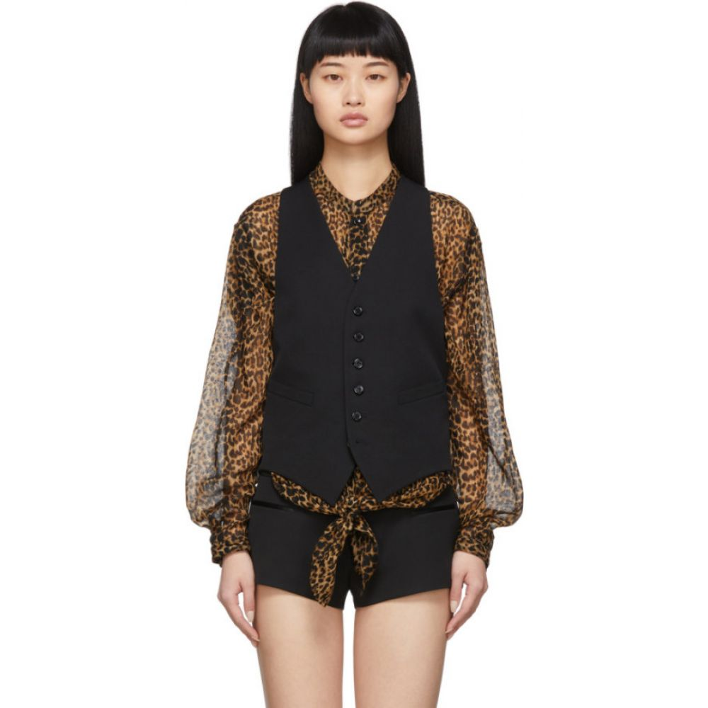 イヴ サンローラン Saint Laurent レディース ベスト・ジレ トップス【Black Wool Classic Vest】Black