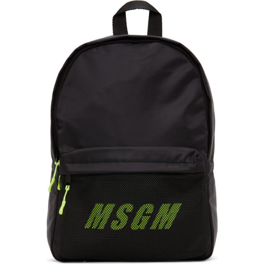エムエスジーエム MSGM レディース バックパック・リュック バッグ【Black & Green Logo Backpack】Black
