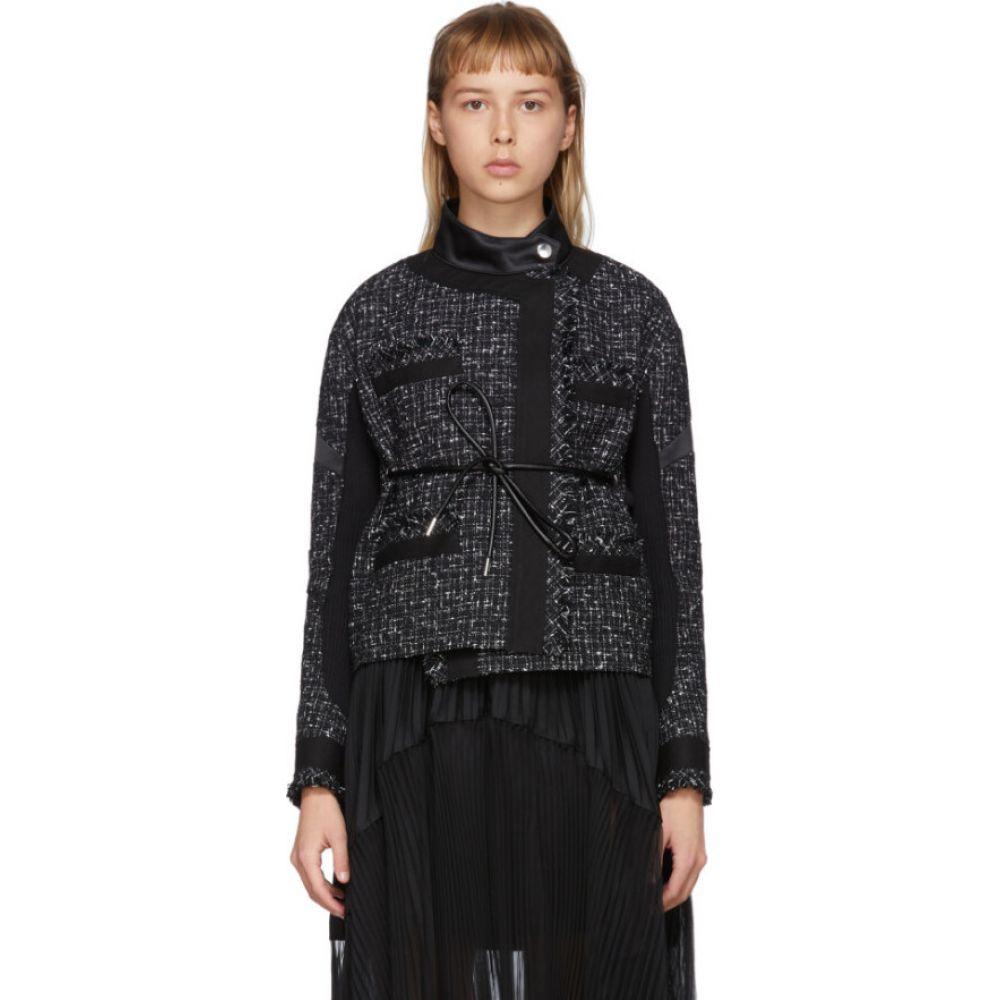 サカイ Sacai レディース ジャケット アウター【Black Wool Summer Tweed Belted Jacket】Black