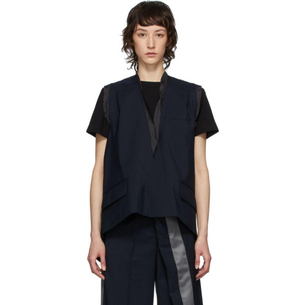 サカイ Sacai レディース ベスト・ジレ Vネック トップス【Navy Wool Suiting V-Neck Vest】Navy