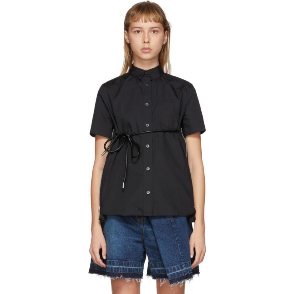 サカイ Sacai レディース ブラウス・シャツ トップス Black Poplin Belted Zip Shirt BlackqzpMVULSG