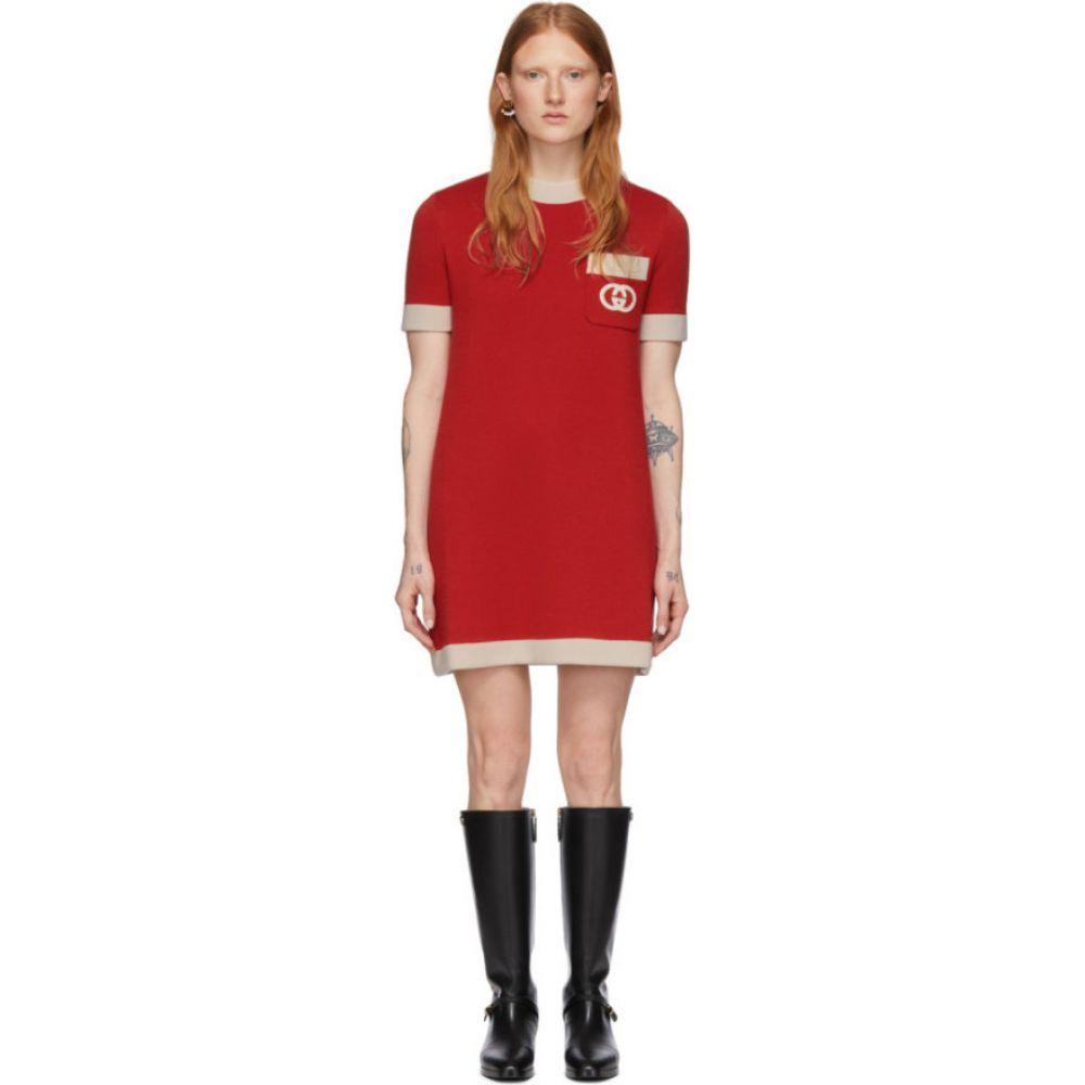 グッチ Gucci レディース ワンピース ワンピース・ドレス【Red Wool Knit GG Dress】Red