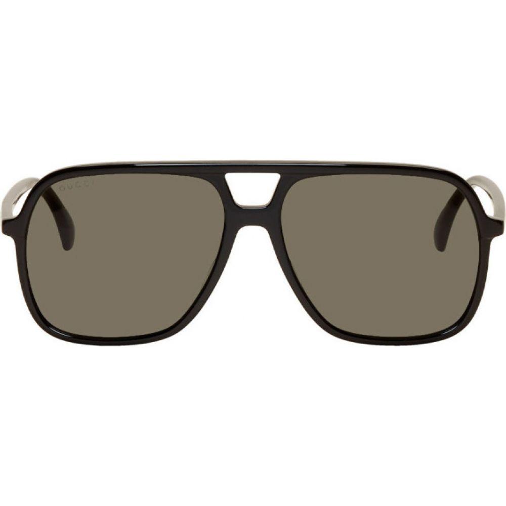 グッチ Gucci メンズ メガネ・サングラス 【Black Ultralight Pilot Sunglasses】Black