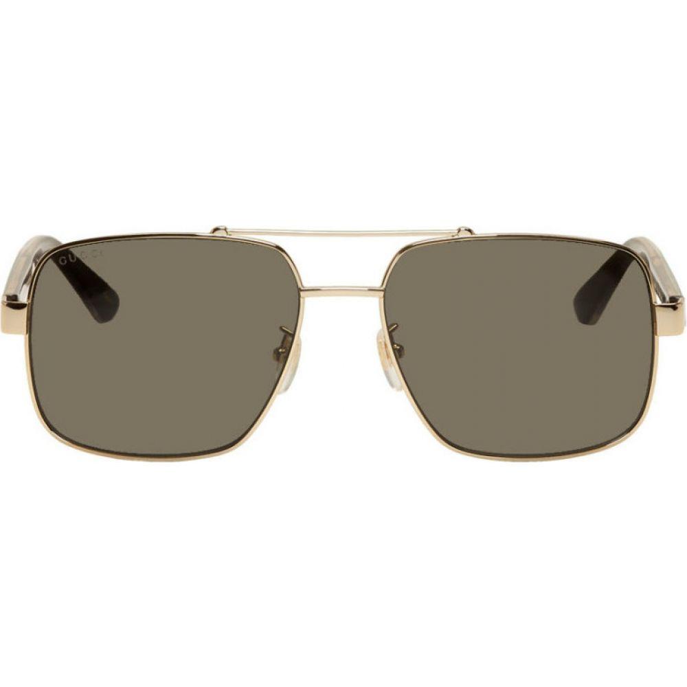 グッチ Gucci メンズ メガネ・サングラス 【Gold Metal Double Bridge Sunglasses】Gold