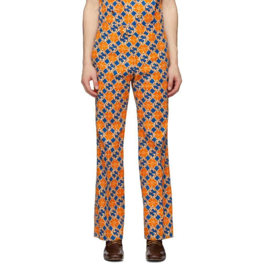 グッチ Gucci メンズ ボトムス・パンツ 【Orange & Blue GG Quatrefoil Trousers】Dark blue/Tiger print