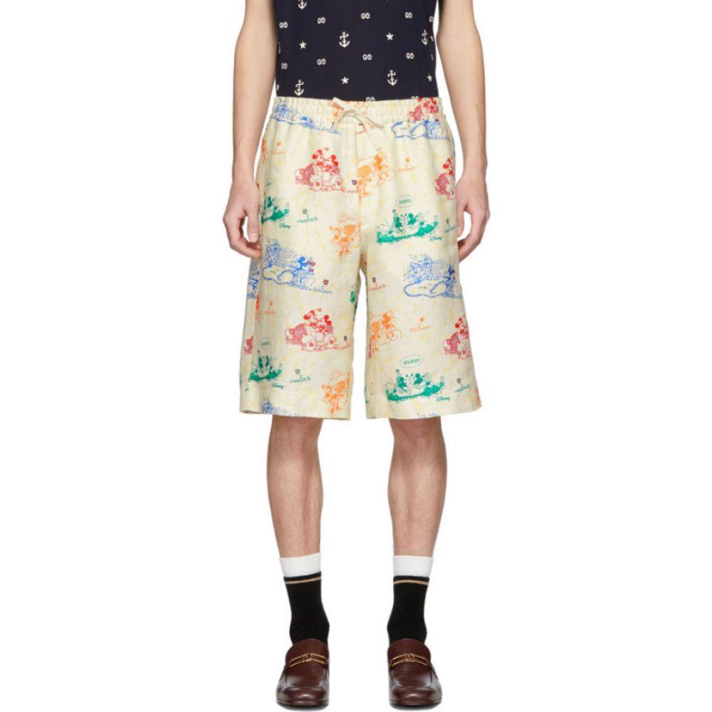 グッチ Gucci メンズ ショートパンツ ボトムス・パンツ【Off-White & Multicolor Linen Disney Edition Shorts】Ivory