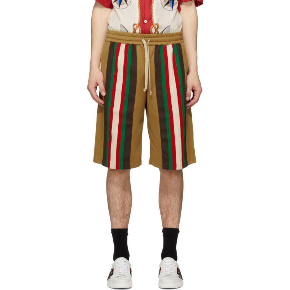 グッチ Gucci メンズ ショートパンツ ボトムス・パンツ【Tan Jersey Stripe Shorts】Vintage camel
