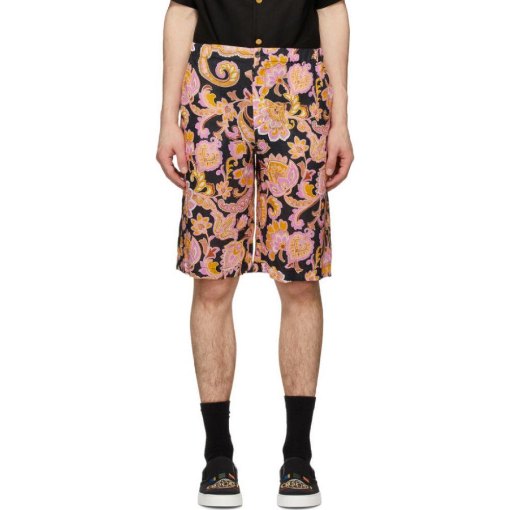 グッチ Gucci メンズ ショートパンツ ボトムス・パンツ【Black & Pink Eige Print Shorts】Black/Rose