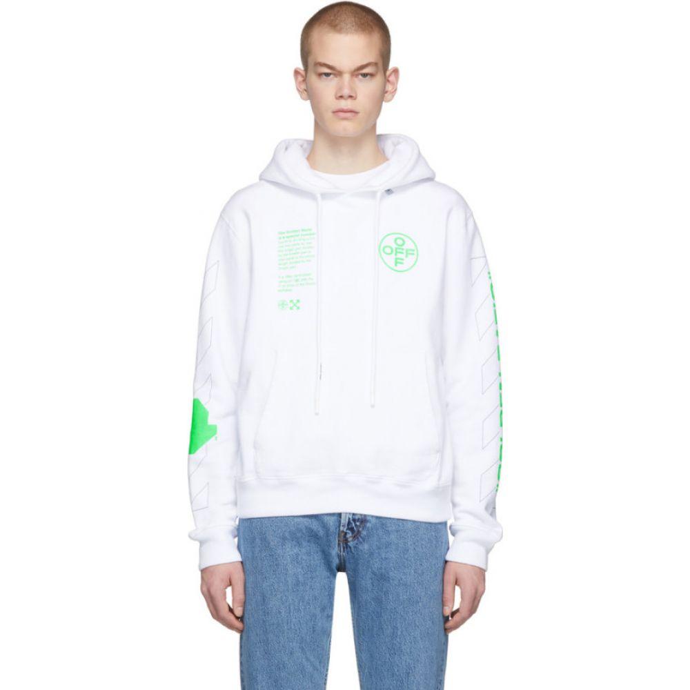 オフホワイト Off-White メンズ パーカー トップス【White Arch Shapes Hoodie】White/Brilliant green