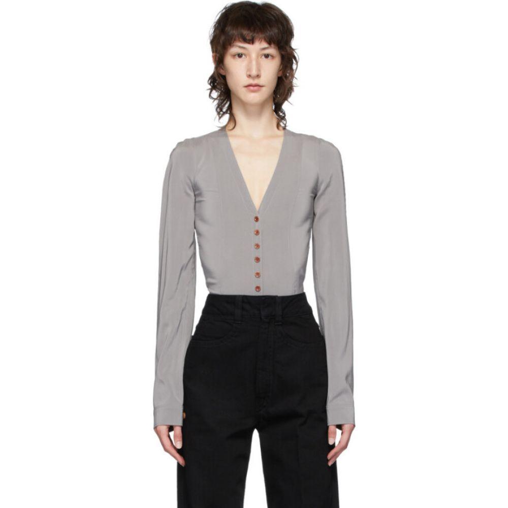 ルメール Lemaire レディース ボディースーツ インナー・下着【Grey Silk Shirt Bodysuit】Fume