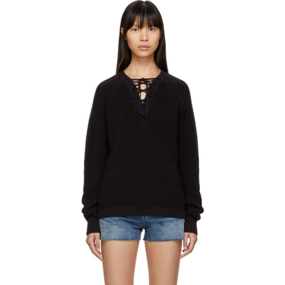 イヴ サンローラン Saint Laurent レディース ニット・セーター Vネック トップス【Black Laced V-Neck Sweater】