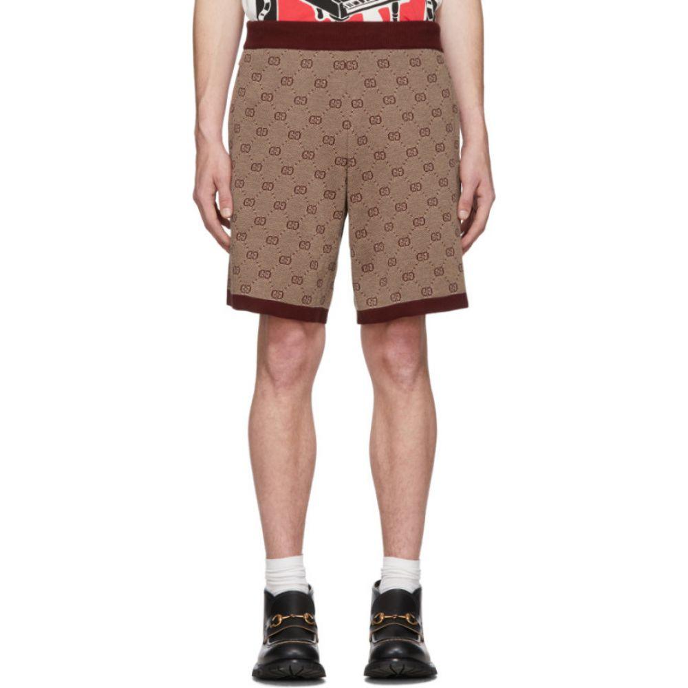 グッチ Gucci メンズ ショートパンツ ボトムス・パンツ【Burgundy Knit GG Shorts】Cherry
