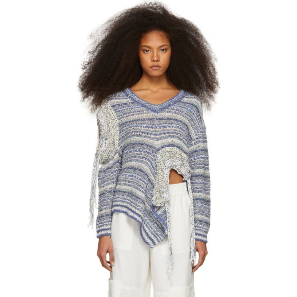 ステラ マッカートニー Stella McCartney レディース ニット・セーター トップス【Blue & White Asymmetric Sweater】