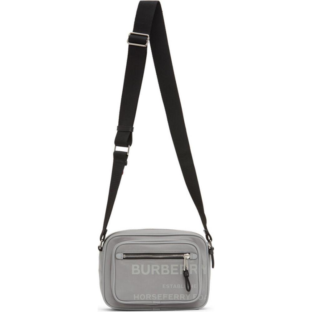 バーバリー Burberry メンズ メッセンジャーバッグ バッグ【Grey Padded Logo Messenger Bag】Cloudy grey