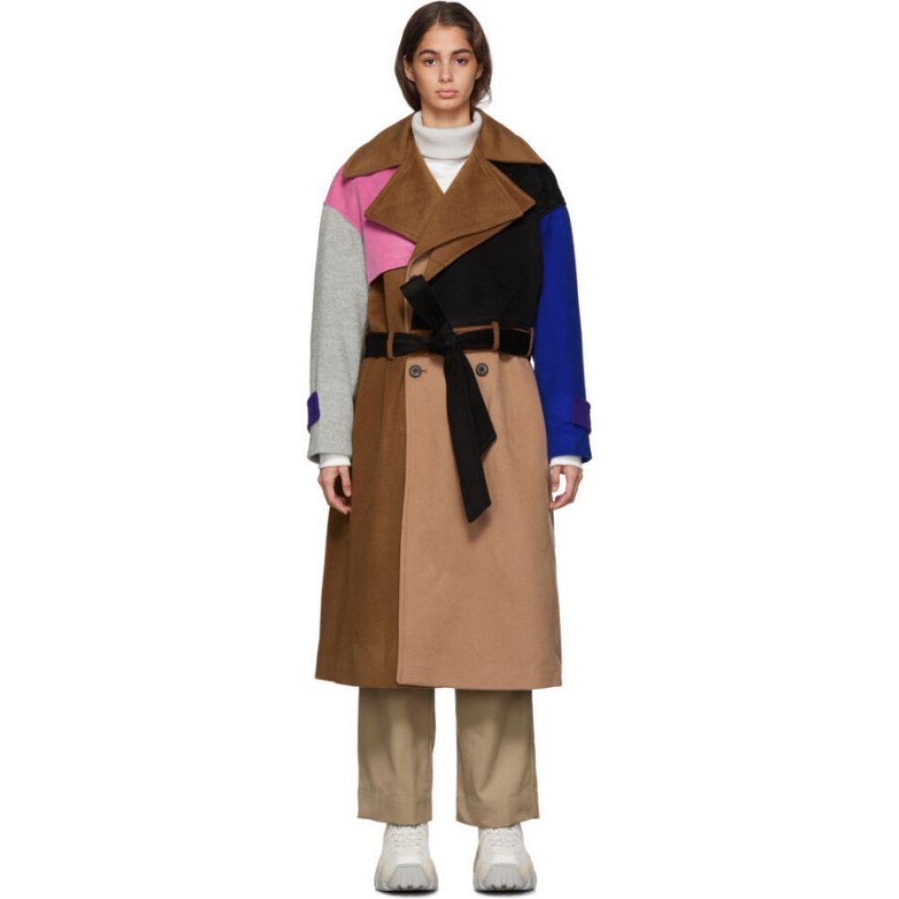 アーダーエラー ADER error レディース トレンチコート アウター【Multicolor Wool Robe Trench Coat】Brown