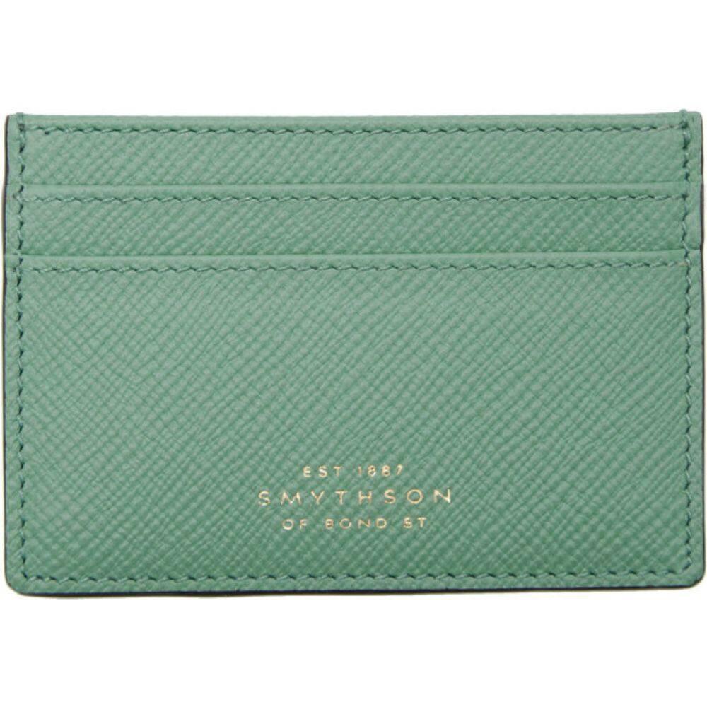 スマイソン Smythson メンズ カードケース・名刺入れ カードホルダー【Blue Panama Card Holder】Sea green