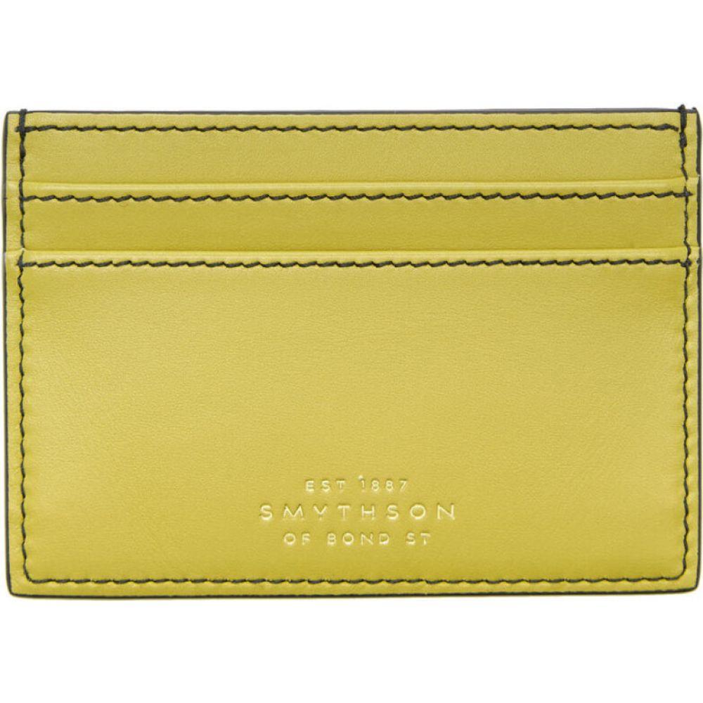 スマイソン Smythson メンズ カードケース・名刺入れ カードホルダー【Yellow Smooth Card Holder】Lime yellow