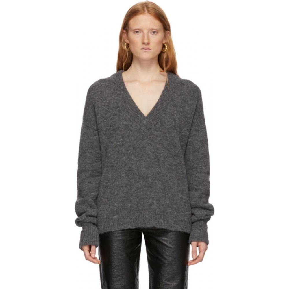 ティビ Tibi レディース ニット・セーター Vネック トップス【Grey Alpaca Airy V-Neck Sweater】Heather grey