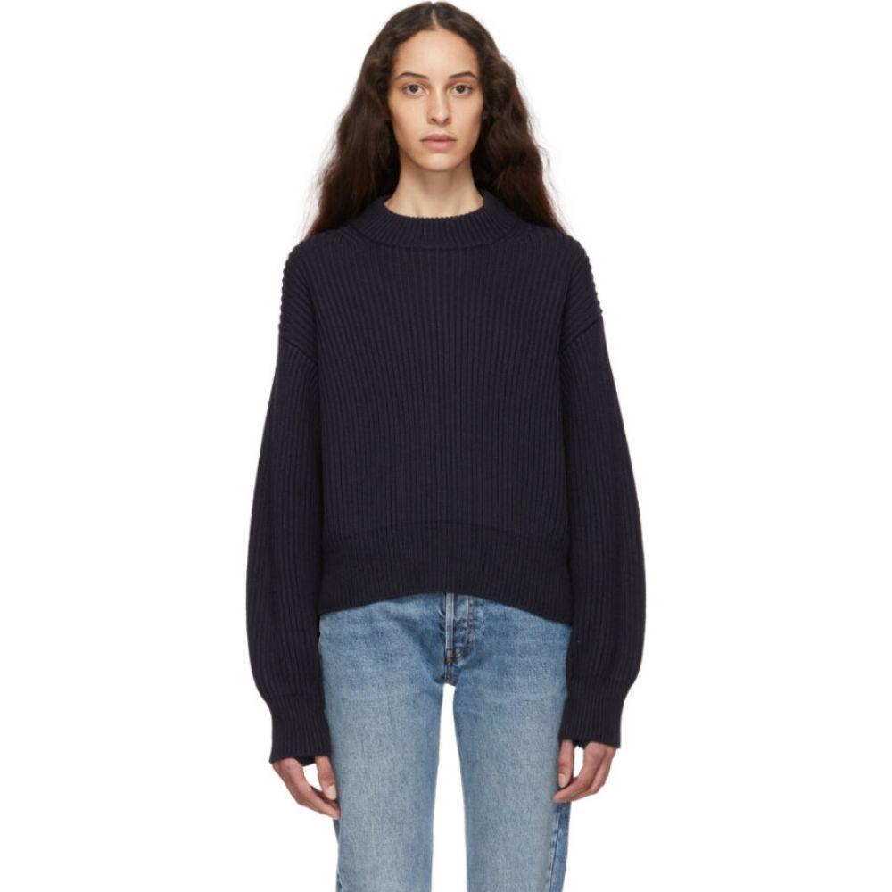 ヘルムート ラング Helmut Lang レディース ニット・セーター トップス【Navy Wool & Cotton Sweater】Ink