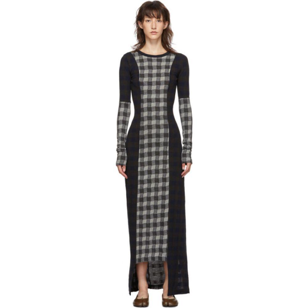 メゾン マルジェラ Maison Margiela レディース ワンピース ワンピース・ドレス【Navy & Grey Wool Check Patchwork Dress】Patchwork