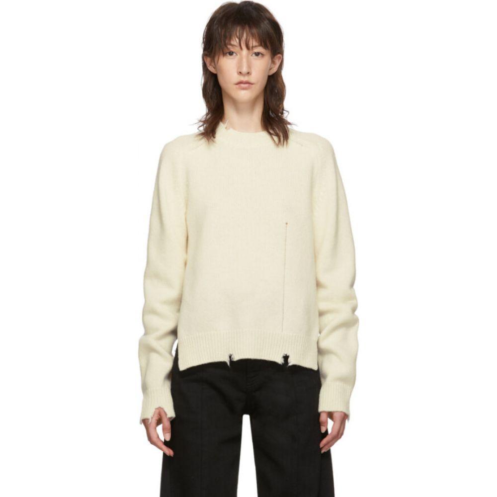 メゾン マルジェラ Maison Margiela レディース ニット・セーター トップス【Off-White Destroyed Knit Sweater】Off white