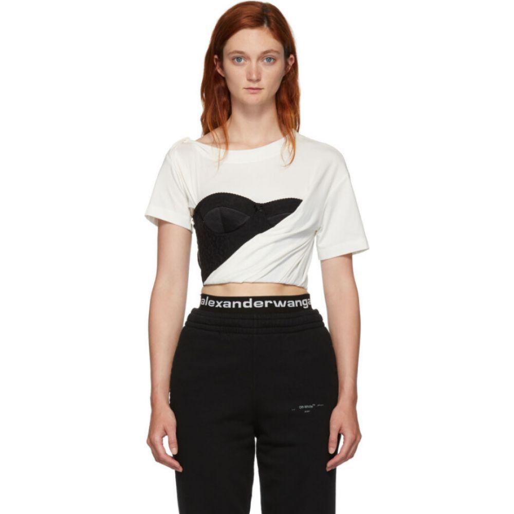 アレキサンダー ワン Alexander Wang レディース ベアトップ・チューブトップ・クロップド ビスチェ トップス【White Draped Bustier T-Shirt】Soft white