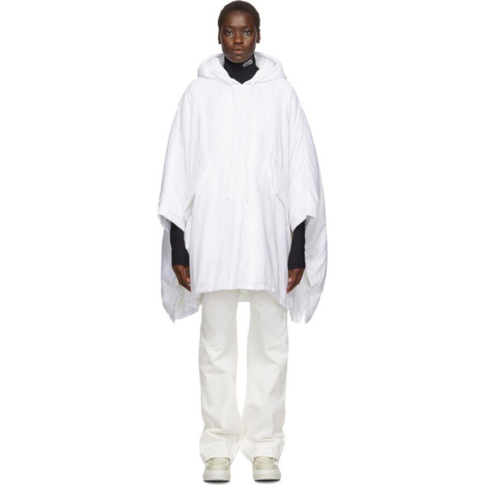 メゾン マルジェラ MM6 Maison Margiela レディース ポンチョ アウター【White Padded Hooded Poncho】White