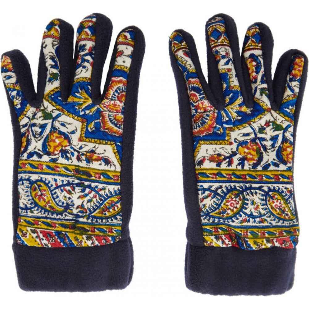 パリアファルザネ paria /FARZANEH メンズ 手袋・グローブ 【Navy Fleece Iranian Print Gloves】Print