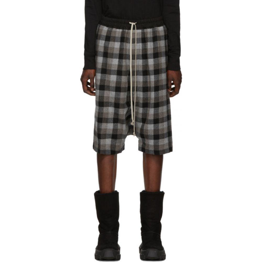 リック オウエンス Rick Owens メンズ ショートパンツ ボトムス・パンツ【Black Rick's Pod Shorts】Black plaid