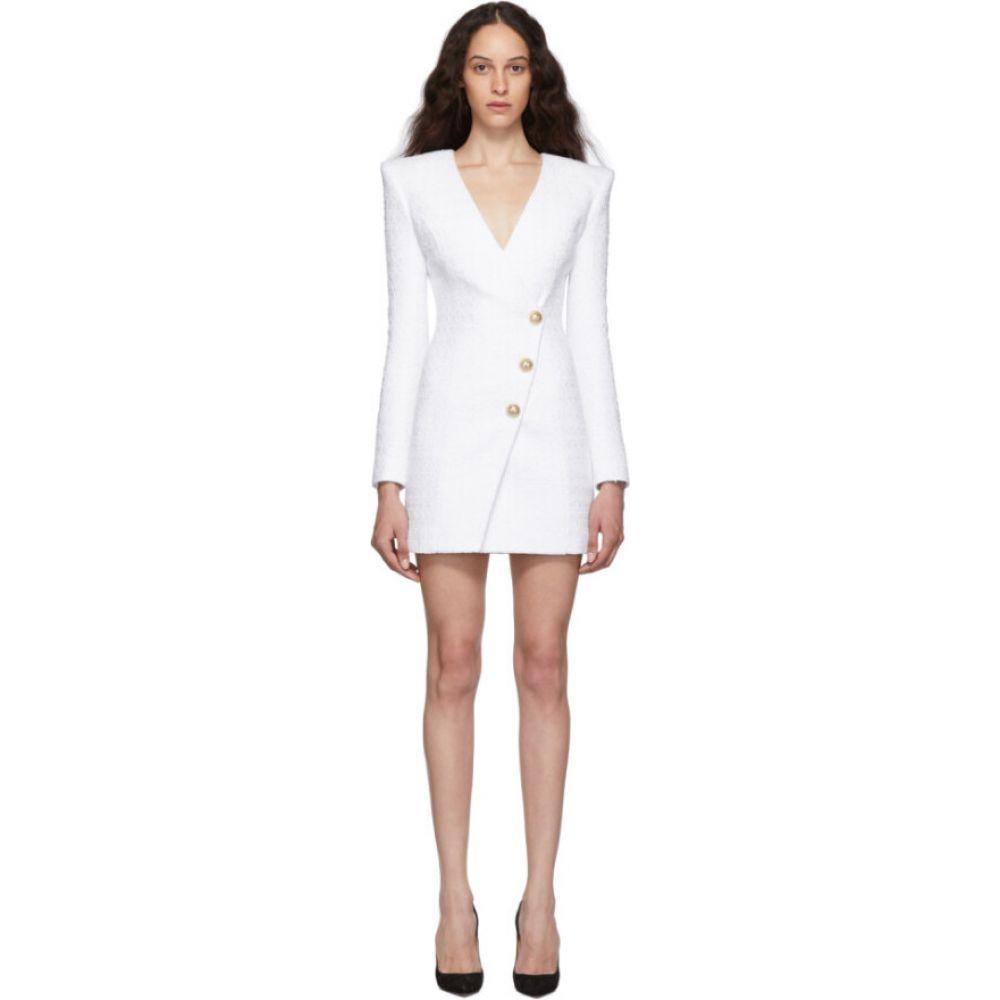 バルマン Balmain レディース ワンピース ワンピース・ドレス【White Tweed Cache-Coeur Short Dress】White