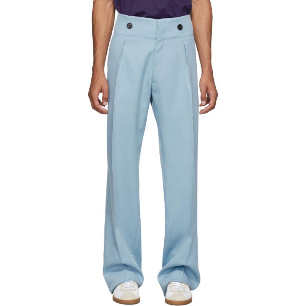 ランバン Lanvin メンズ ボトムス・パンツ 【Blue Wool High-Waisted Trousers】Stormy blue
