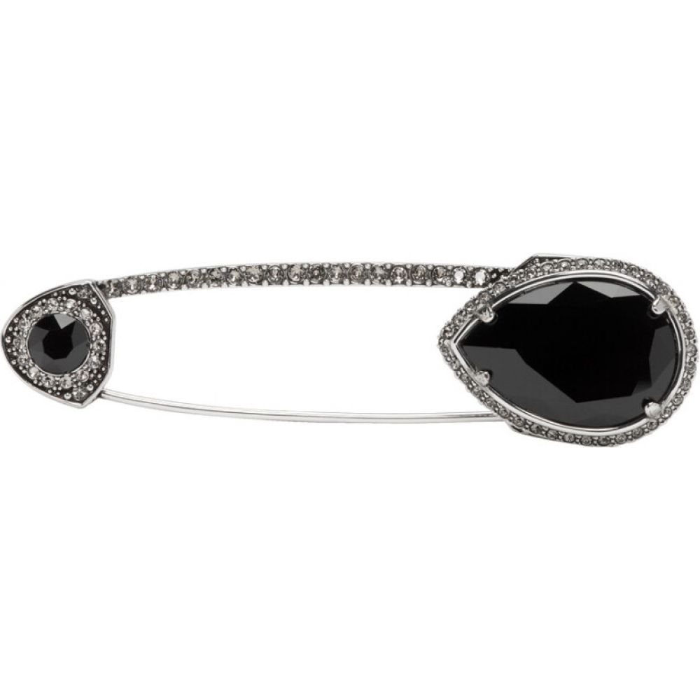 アレキサンダー マックイーン Alexander McQueen メンズ ラペルピン 【Silver & Black Jewelled Safety Pin】Silver/Black